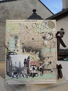 London freestyle scrapbooking album / Album de Londres style freestyle / See more at / Voir plus sur : http://scrap-ines.over-blog.com/article-couverture-album-london-55914352.html