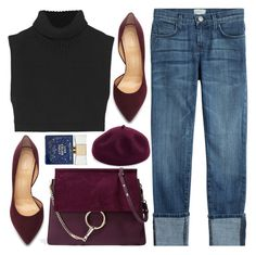 """""""Look # 672"""" by lookat ❤ liked on Polyvore featuring Current/Elliott, Chloé, Victoria Beckham, Charlotte Olympia, Kathy Jeanne, Kate Spade, croptop, basic, burgundy and boyfriends"""