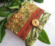 Covered Notebook Olive Green Rust Green Leaves by marinandcolusa, $9.00
