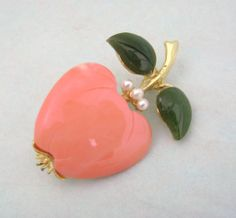 Vintage Kenneth Lane KJL Jade Coral Apple Pin