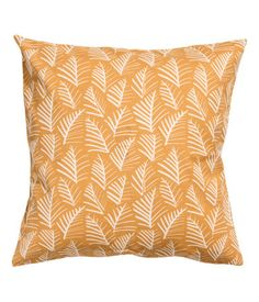 Mustard yellow/leaf. Cushion cover in thick, woven fabric with a printed pattern. Concealed side zip.