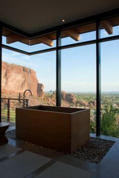Camelback contemporary bathroom with a breath taking view from the bathtub