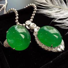 RP - Jadeite Jade Diamond Pendant and Ring