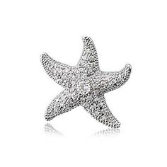 Bling Jewelry Pave Cubic Zirconia Starfish Pendant 925 Sterling Silver