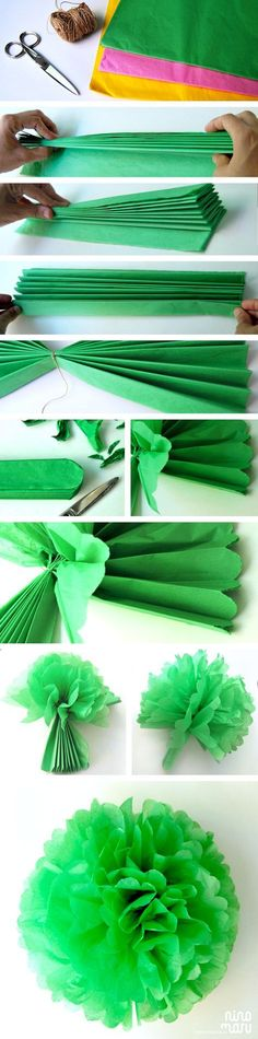 ▷ ideas on how to make paper flowers- ▷ Ideen, wie Sie Papierblumen basteln können craft ideas with paper. Fold big flower from green crepe paper - How To Make Paper Flowers, Tissue Paper Flowers, Diy Y Manualidades, Diy And Crafts, Paper Crafts, Paper Pom Poms, Mexican Party, Big Flowers, Diy Party