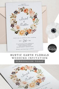 Rustic Earth Florals Wedding Invitation by Fresh & Yummy Paperie. The fall wreath design features burnt orange, blush pink and cream flowers with sprigs of burgundy florals and greenery. It's perfect for a backyard wedding. Click to customize and purchase yours today. Exclusively on Zazzle.com. #freshandyummypaperie #weddings #weddinginvitation Orange Wedding Invitations, Beautiful Wedding Invitations, Rustic Invitations, Invitation Design, Burnt Orange Weddings, Orange Blush, Blush Pink, Wedding Planning Inspiration, Reception Signs