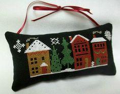 Christmas Village Cross Stitched Ornament / Door Hanger by luvinstitchin4u on Etsy