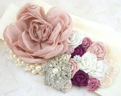 Bridal Sash- Wedding Sash in Dusty Rose, Ivory and Magenta with Chiffon, Satin, Pearls and Crystal Brooch Vintage Style. $210,00, via Etsy.