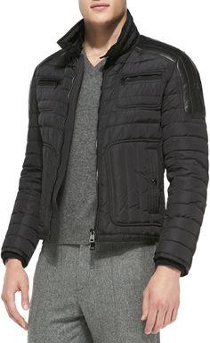 Moncler Bahar Quilted Nylon Moto Jacket
