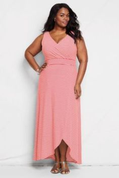 Women's Plus Size Stripe Fit and Flare Maxi Dress from Lands' End