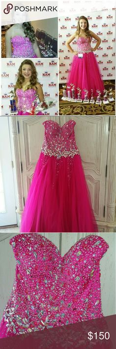 GORGEOUS Fuschia Pageant /Prom Dress Size 8 VERY Gently used Fuschia Pageant/Prom dress by Kiss Kiss. Beading still in tact. Minimal wear. The bottom is in EXCELLENT condition. Crinoline in excellent shape. Stunning dress!!! Kiss Kiss Dresses Prom