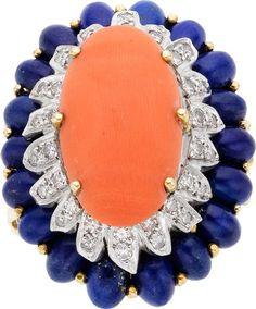 Estate šperky: prsteny, korál, lapis lazuli, Diamond, zlatý prsten.  ...
