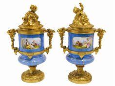 Pair of Louis XVI gilt bronze mounted sevres styel porcelian cassolettes France, late 19th Century