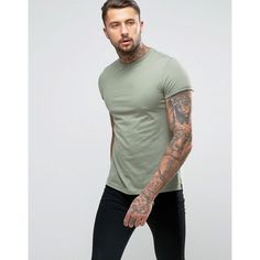 ASOS T-Shirt With Crew Neck And Roll Sleeve In Green (29 SAR) ❤ liked on Polyvore featuring men's fashion, men's clothing, men's shirts, men's t-shirts, green, mens green shirt, mens roll sleeve shirt, j crew mens shirts, mens tall t shirts and asos mens shirts