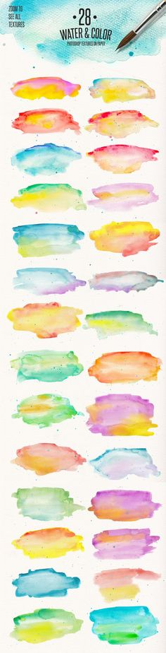 28 Water & Color Textures on Paper by DesignSomething on @creativemarket