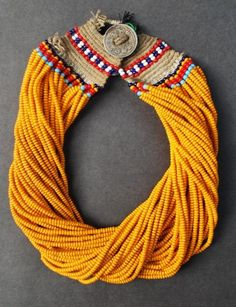 Nagaland ~ India | Necklace made out of glass beads and fiber. | Konyak Tribe.
