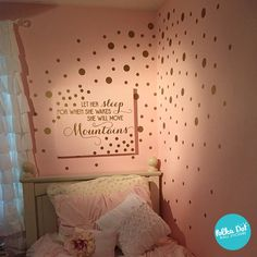 Metallic gold polka dot wall decals on a soft powder pink wall. (customer shared photo)