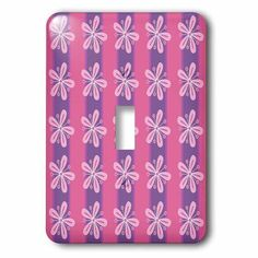 3dRose Cherry Mocha - Pink Flowers on Purple Stripes, 2 Plug Outlet Cover