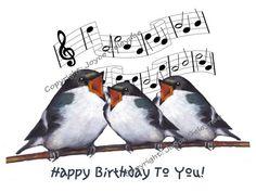 Clip Art: Three Birds Singing Happy Birthday, With Musical Staff | JoyfulArt - Graphics on ArtFire