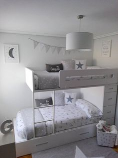 44 Unique Floating Bunk Beds Design That You Need To Know - Bunk beds are a good choice for a room that has limited floor space and needs to sleep two children. They are a great choice of bed for a small room a. Kids Bedroom Designs, Bunk Bed Designs, Kids Room Design, Girl Room, Girls Bedroom, Bedroom Decor, Bedroom Wall, Wall Decor, Shared Bedrooms