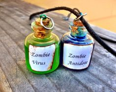 Zombie Virus and Antidote Friendship Necklace Set (Free Shipping To USA) @Nicole Boyle