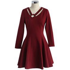 a16c3fa21a Sheen Clothing Sheen Lilli Gold Sequin Skater Dress in Burgundy ( 86 ...