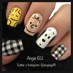 Creative Nail Designs, Simple Nail Art Designs, Creative Nails, Classy Nails, Cute Nails, Pretty Nails, Snoopy Nails, College Nails, Teen Nails