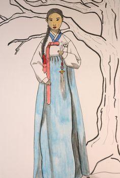 Illustration à l'aquarelle d'une jeune femme coréenne habillé en habit traditionnel le Hankok de la boutique SwordandStar sur Etsy