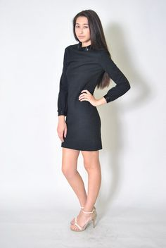 Vintage Wool Sheath Dress 60s Sexy Beaded Wool by WaistedVintage1, $62.00