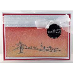 Hobby Art - Cling Stamp - Church View, distress inks, double sided adhesive sheet and ultra fine glitter