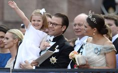 Sweden's Princess Estelle with her father Prince Daniel and  Crown Princess Victoria