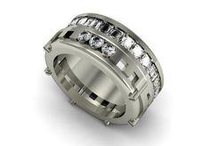 14k White Gold Modern Men Wedding Band with Diamonds by VOLISA, $4550.00