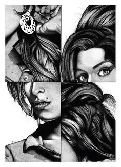 Stippling Art / Pontilhismo - Amy Winehouse - Desenho sobre papel - 50x70cm - Fine Art (giclée) - numerado e assinado pelo artista - acompanha certificado de autenticidade.