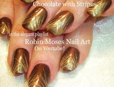 #nalart #nail #art #brown #chocolate #gold #stripes #nails #freehand #design #tutorial #robinmosesnailart #glitter