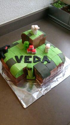Mine craft taart