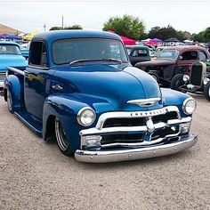 """500 Likes, 14 Comments - SteveO (@shoeboxsteveo) on Instagram: """"Ol blue ridin low leaving the roundup. 📷 @bagged_53 #chevrolet #chevy #chevytruck #classic…"""""""