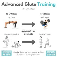 Advanced Glute Training? Looking to switch up your glute training or don't have time to do a full leg day? Check out these exercises to take your glute training up a notch. This works great with hip thrusts and supersetting them with back squats for the glutes. Also, the Romanian deadlift supersetted with reverse lunges is another good combo for this training strategy. Simply do the isolation movement for 15-20 reps and then move directly into the compound movement for 6-12 reps