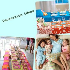 Pancake and pajama party party - fun idea to set the table as a bed