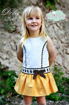 Vestido amarillo y blanco disponible en https://www.facebook.com/kidsstyle