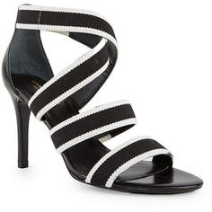 Isaac Mizrahi Pennie Striped Strappy High Heel Sandal in Black and White