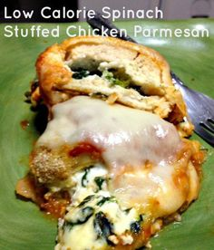 This Low Calorie Spinach Stuffed Chicken Parmesan is perfect for the Italian loving family, and only 1/2 the calories of traditional chicken Parmesan!
