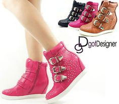 NEW Womens Fashion High Top Wedges Ankle Sneakers Shoes Hidden Heel Boots Shoes Super cute what I'd love to wear
