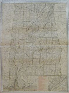 RARE Size ALABAMA Map of Alabama w RAILROADS 1924 by plaindealing