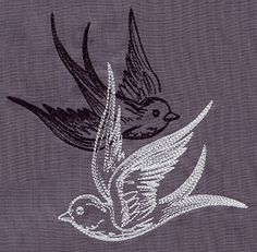 """Light and Shadow Swallows"" Overlapping birds create a dynamic contrast. - UT5584 (Machine Embroidery) 00467512-053013-0647-3     395      72"