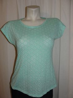Weekends by Chico's Top Mint Green Short Sleeve Cotton Poly Shirt Size 0 S 4/6 #Chicos #Blouse #Casual