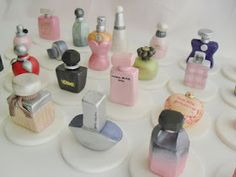 Designer Perfume Bottles Cupcake Toppers! Ordered by a client in Australia for an event. All handpainted, handsculpted and 100% edible!