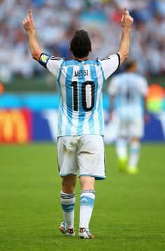 Lionel Messi of Argentina celebrates scoring his team's second goal and his second of the game during the 2014 FIFA World Cup Brazil Group F...