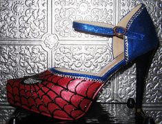 spiderman heels with crystal rhinestones and by STEAMHATTER, $85.00
