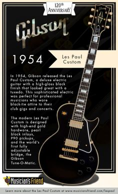 Designed to look great with a tuxedo, learn more about the Gibson Les Paul Custom's history (The Fretless Wonder). #Gibson120