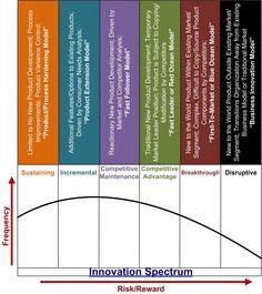 Innovation Spectrum: sustaining, incremental, competitive maintenance, competitive advantage, breakthrough, disruptive.